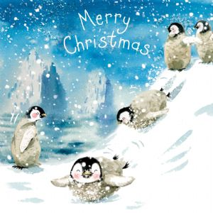 WF11  Fun Christmas Card with Penguins